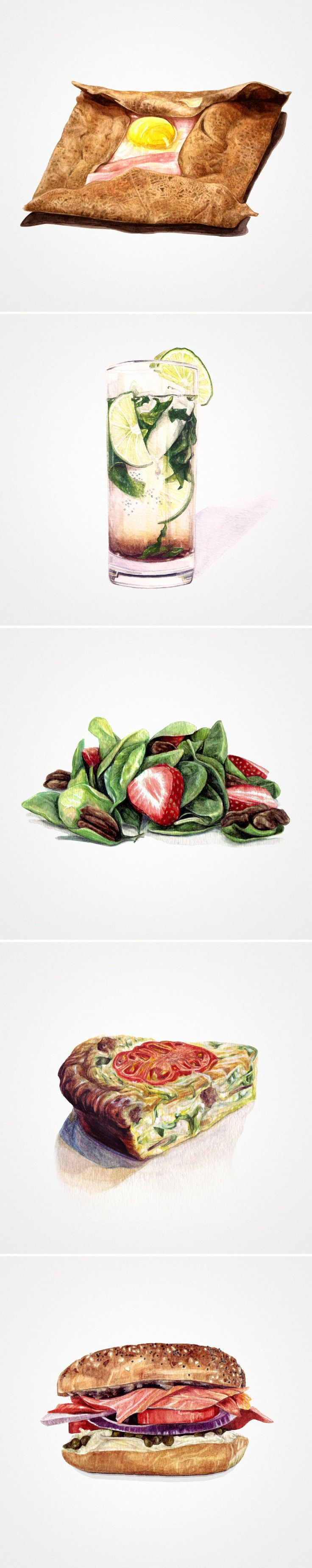 Watercolor illustrations by Sara Zin on Starving Artist Recipes: http://starvingartistbook.tumblr.com