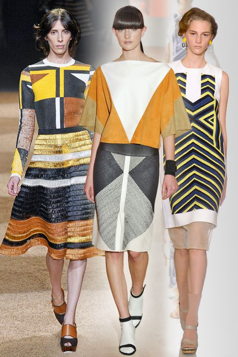 Geometric Abstraction. <3 Linear, colorful designs seen on the runways from Hermes to Proenza Schouler mirrored the minimalist style of 20th century artists such as Frank Stella and Sol LeWitt. Complete the look with graphic shape-heavy jewelry with an artistic flair.