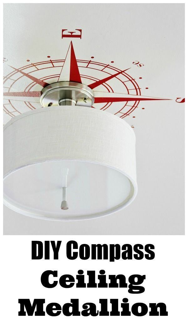 Drum light meets compass decal equals nautical boys bedroom success!  This simple fabric drumshade semi-flush light is great on its own, but, when you pair it with a compass decal, it is re-energized as a great light for the little kid in your life!