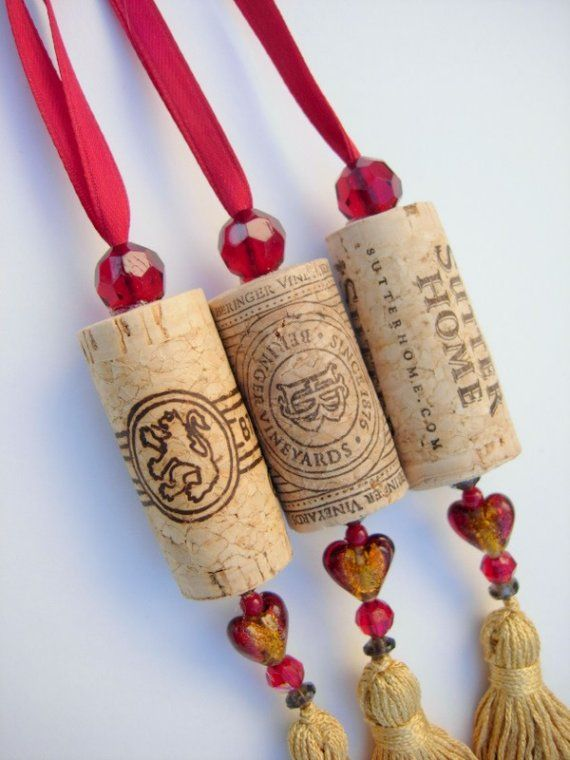 Wine Cork  Ornaments (3) Upcycled