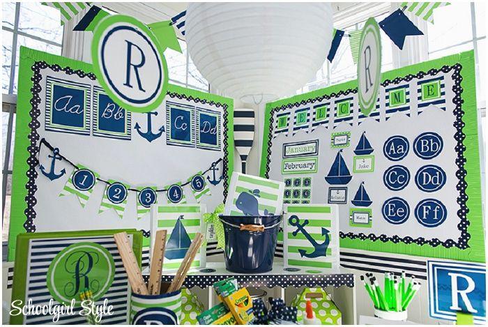 Navy Classroom Decor : Lime and navy nautical classroom decor preppy