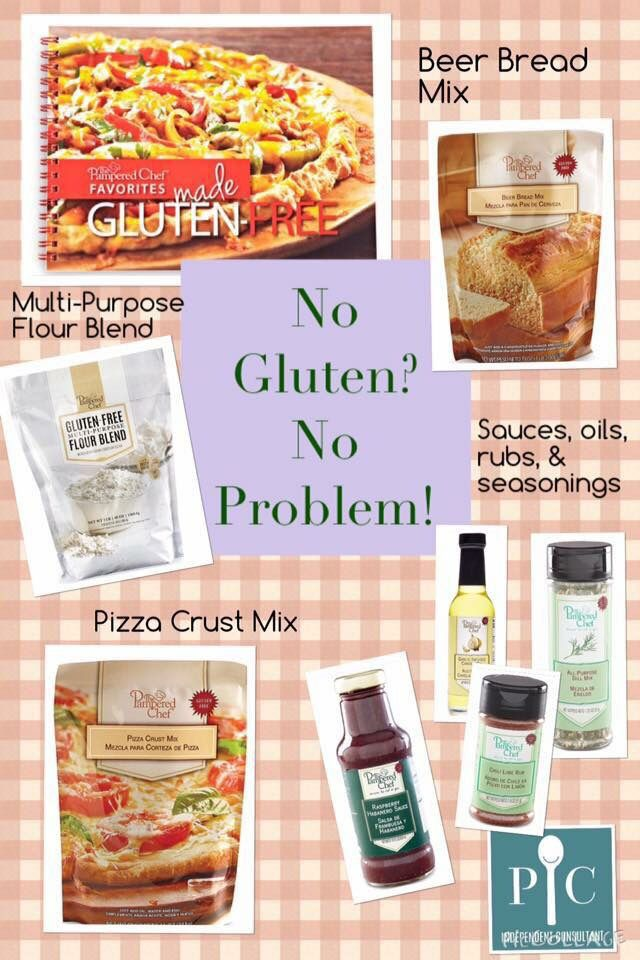 Pampered Chef has a pantry full of items for your gluten free lifestyle.  Baking mixes, a cookbook and our seasonings, spices, rubs, sauces and vinegars.  Contact me or order online.  Like my Facebook page for recipes, tips and ideas: www.facebook.com/jennifermentingspamperedchefpage