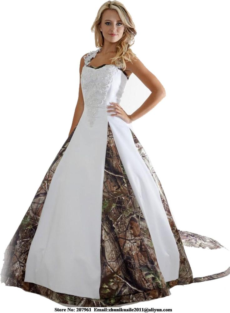 Stock 2016 New Camo Wedding Dresses  Satin Camouflage Bridal gown with Appliques Court Train Modest Robe de mariage