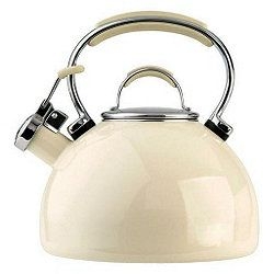 Whistling tea kettle, white or cream or some cute color. NOT the one with the sticking straight up square-like old-fashioned handle that's hard to pour with. Just a regular loop or stick handle that doesn't move.