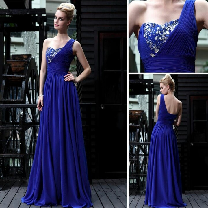 2017 One Shoulder Royal Blue Prom Dress Long V Neck Beading Dresses Evening