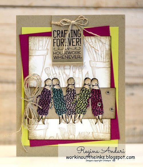 """Regina Andari's """"Crafting Forever"""" card featuring 2017-2019 In Colors on the twine."""