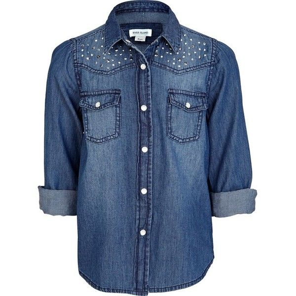 River Island Girls blue mid wash studded denim shirt (35 BRL) ❤ liked on Polyvore featuring tops