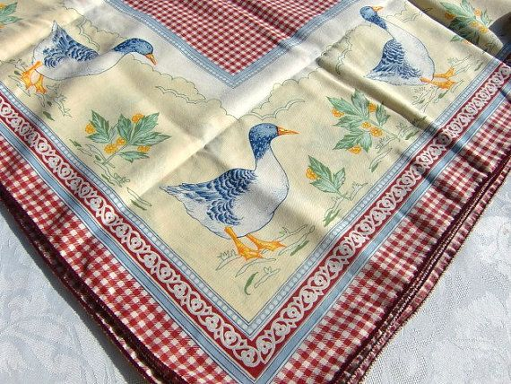French vintage tablecloth   red gingham by froufrouretro on Etsy