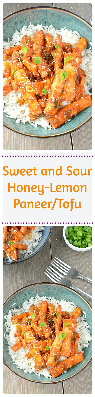 Crispy #paneer strips tossed in #honeylemon sauce and served over rice. Easy, mouthwatering & full of flavor recipe! Vegan lovers substitute paneer with tofu!!