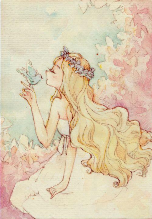✮ ANIME ART ✮ anime. . .pastel. . .watercolor. . .long hair. . .flowers. . .bird. . .cute. . .kawaii