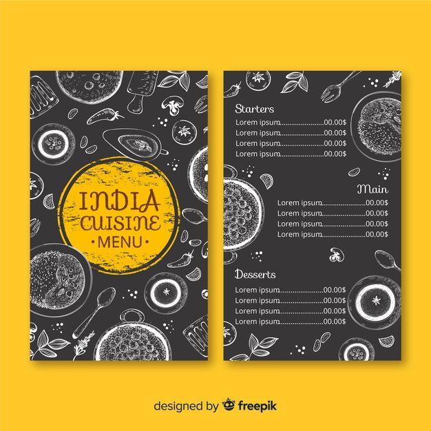 Hand Drawn Indian Restaurant Menu Template Menu Card Design Menu Restaurant Restaurant Menu Template