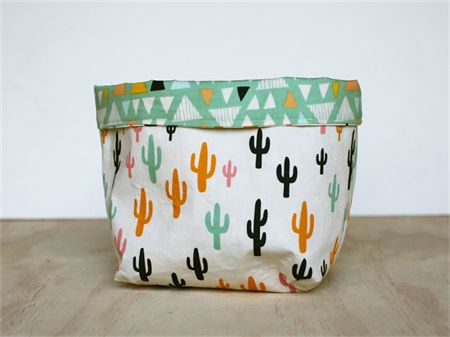 Large reversible fabric storage basket - cactus and triangles