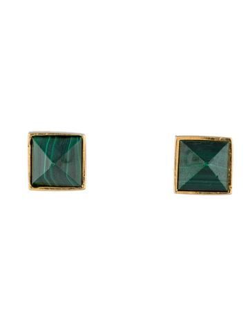 Gold-tone Kelly Wearstler earrings with malachite pyramid stud and post closure. Includes pouch.
