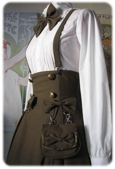 A military lolita outfit. I really enjoy the skirt with suspenders and the pouch attached to the bow is my favorite part.