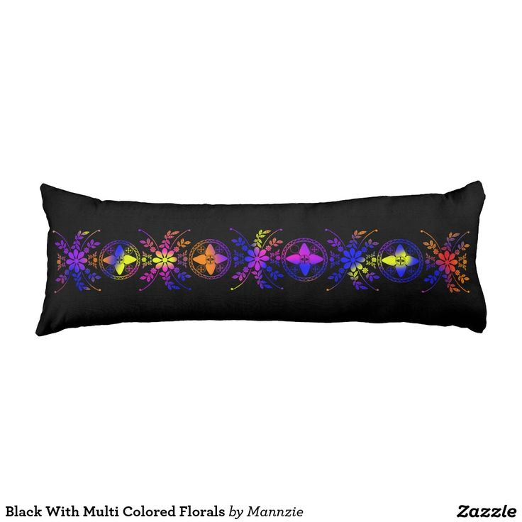 Black With Multi Colored Florals Body Pillow