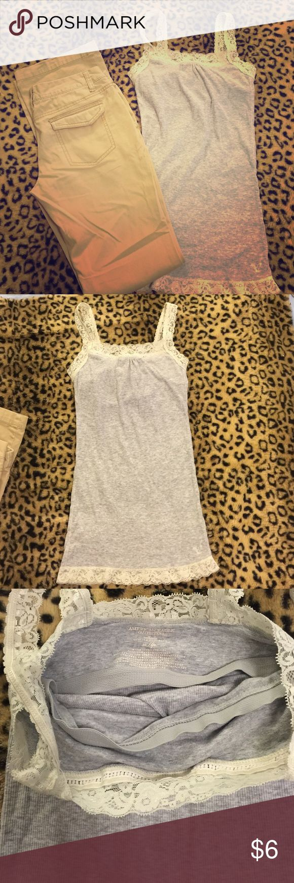 Juniors outfit Mossimo khakis in great condition and American outfitters tank in great condition Mossimo & american outfitters  Pants