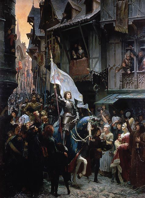 Joan of Arc, victorious against the English, returns to Orleans and is acclaimed by the population
