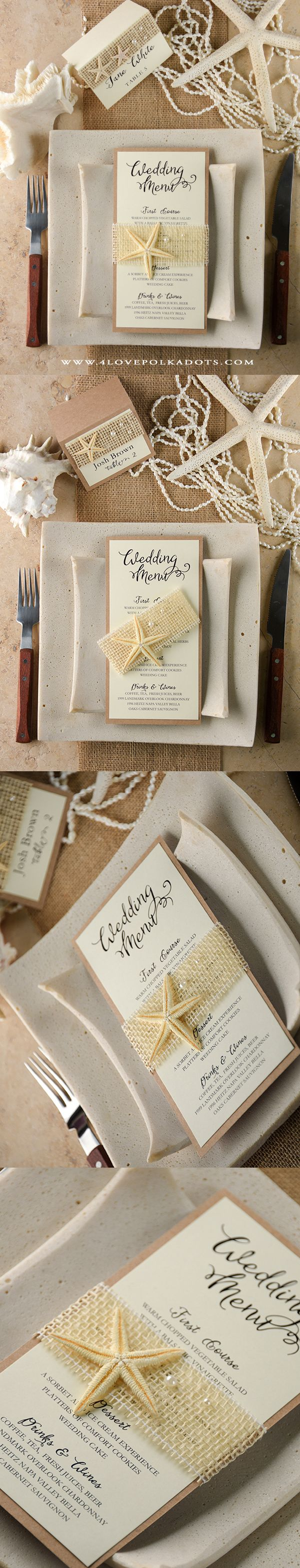 Starfish poem card - Beach Wedding Menu Card Beachwedding Destinationwedding Starfish