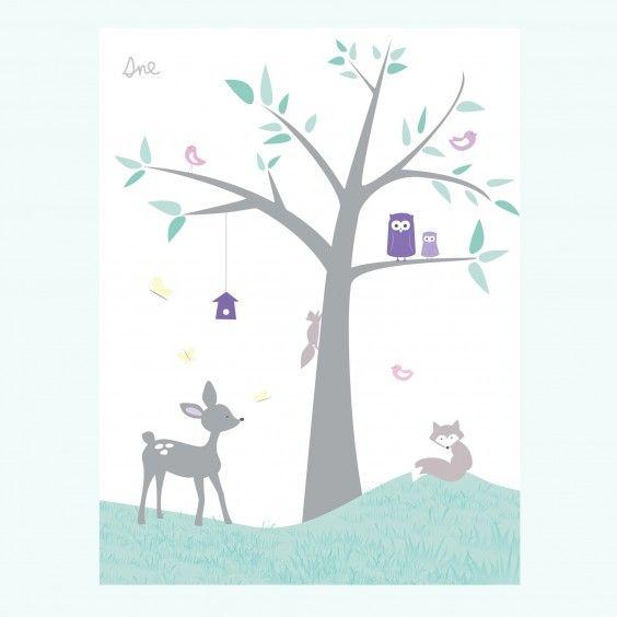 Plakat Tre med dyr #poster #plakat #barnerom #babyrom #interiør #lillemeg