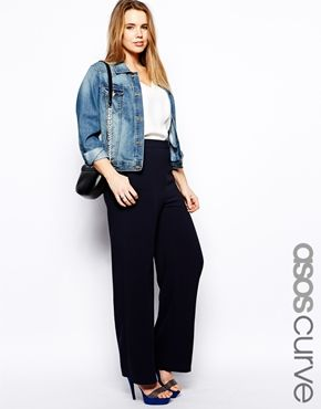Image 1 of ASOS CURVE Trouser With High Waist In Wide Leg