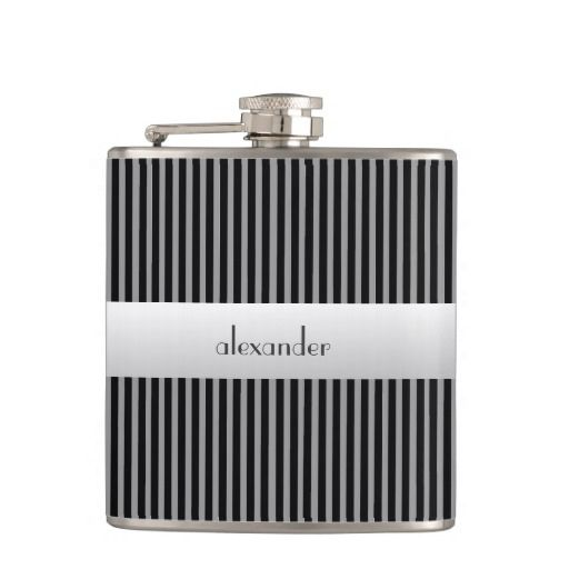 Black and Grey Pin Stripes-Groomsmen Hip Flasks