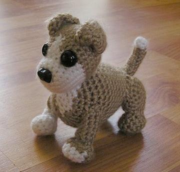Crochet puppy pattern from http://www.doggiestylish.com/store/blog/2011/10/daily-free-pet-pattern-crochet-an-amigurumi-pit-bull-puppy/