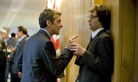 Spcial advisers http://www.guardian.co.uk/politics/2012/oct/14/avoid-thick-of-it-appointments# Peter Capaldi and Chris Addison in the film In The Loop