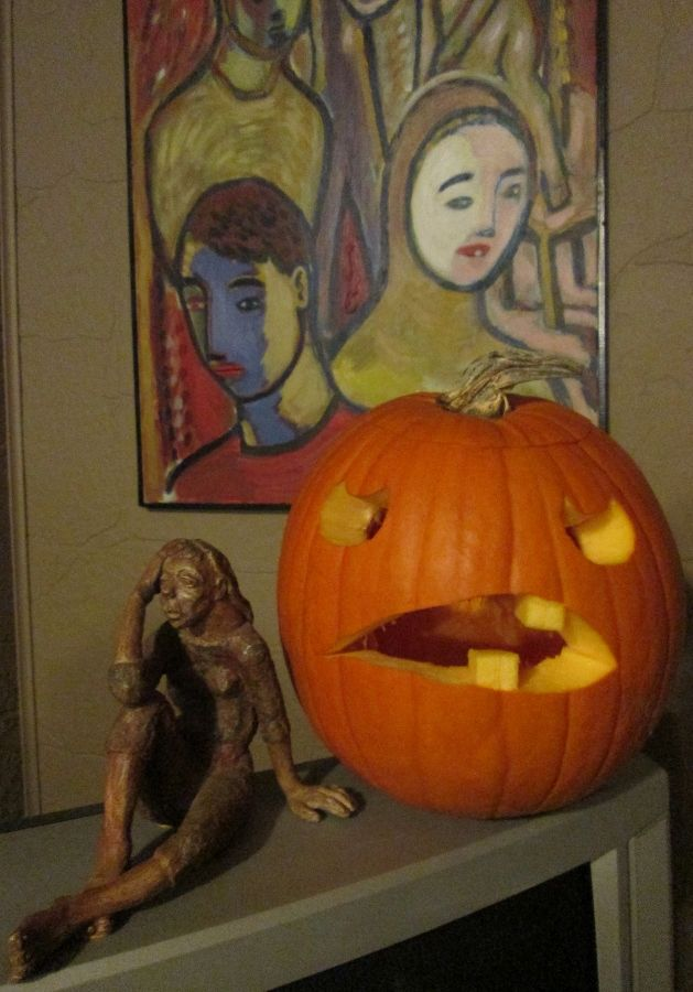 HAPPY HALLOWEEN, Pine Street Pickers! Hope it's the spookiest ever! I carved the pumpkin, my brother (Michael Tran of Toronto, Canada) painted the painting in the background (circa 1987) and my grandmother (Ruth Pither of Hen Pen Studio) created the sculpture (circa 1960's). None of these are for sale.