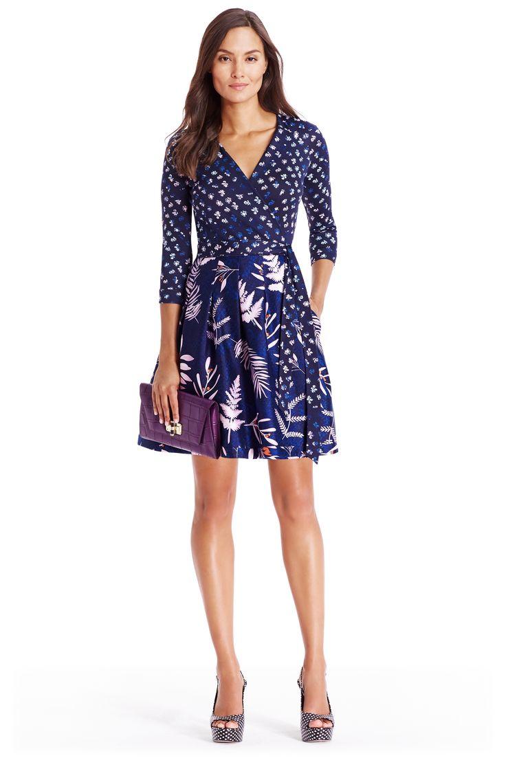 DVF Jewel Silk Combo Wrap Dress in daisy buds tiny indigo/ snake leaves
