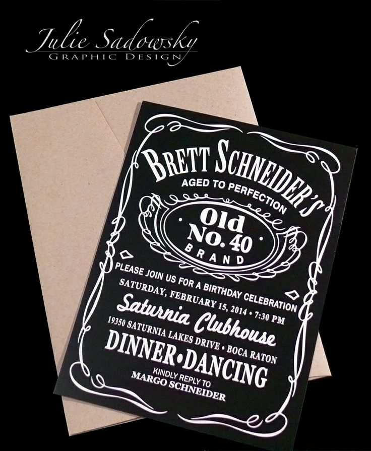 Jack Daniels Theme Birthday Party Invitation. The Brown