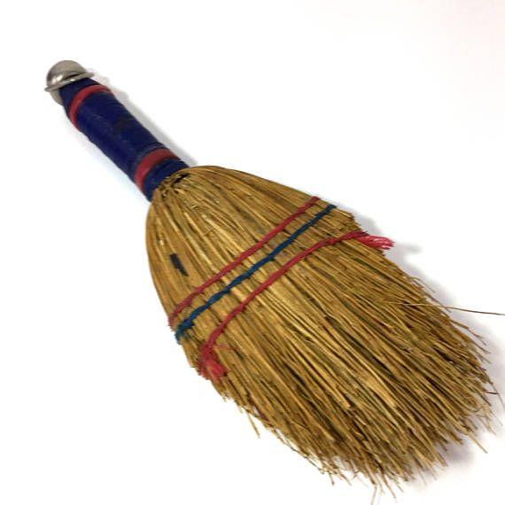 Whisk Broom Stubby Shabby Worn Blue Handle #whiskbroom #broom #farmhouse #shabby #primitive