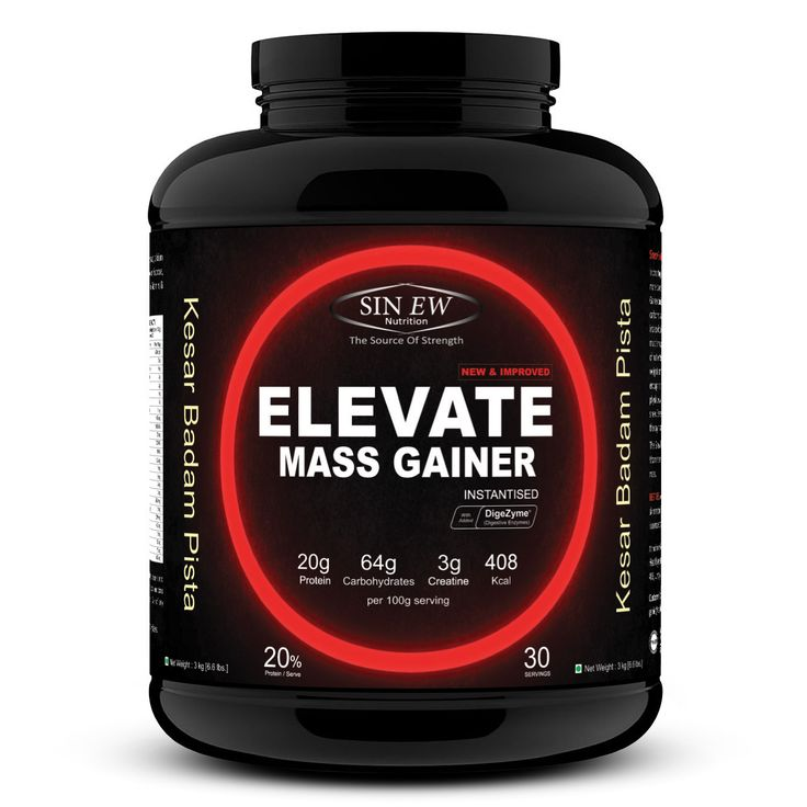 Compare & Buy Sinew Nutrition Elevate Mass Gainer, Complex Carb & Proteins in 3:1 ratio with DigiEnzymes, 3kg / 6.6lb - Kesar Badam Pista Flavor online in India at Healthgenie. Get Best Discount on Sinew Nutrition Elevate Mass Gainer, Complex Carb & Proteins in 3:1 ratio with DigiEnzymes, 3kg / 6.6lb - Kesar Badam Pista Flavor Price. Free Shipping & COD.