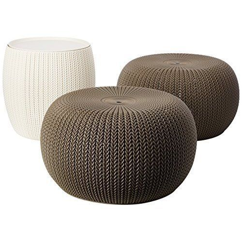 Outdoor Poufs Patio Table Chairs Set 3 Piece End Table Storage Bin Modern NEW #OutdoorPoufs