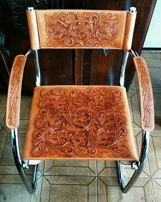 Stunning leather tooling on a chair! Would be great on bar stool as well