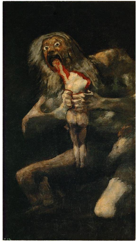 Saturno che divora i suoi figli, Goya, olio su intonaco, 1819-1823, Museo del Prado, Madrid