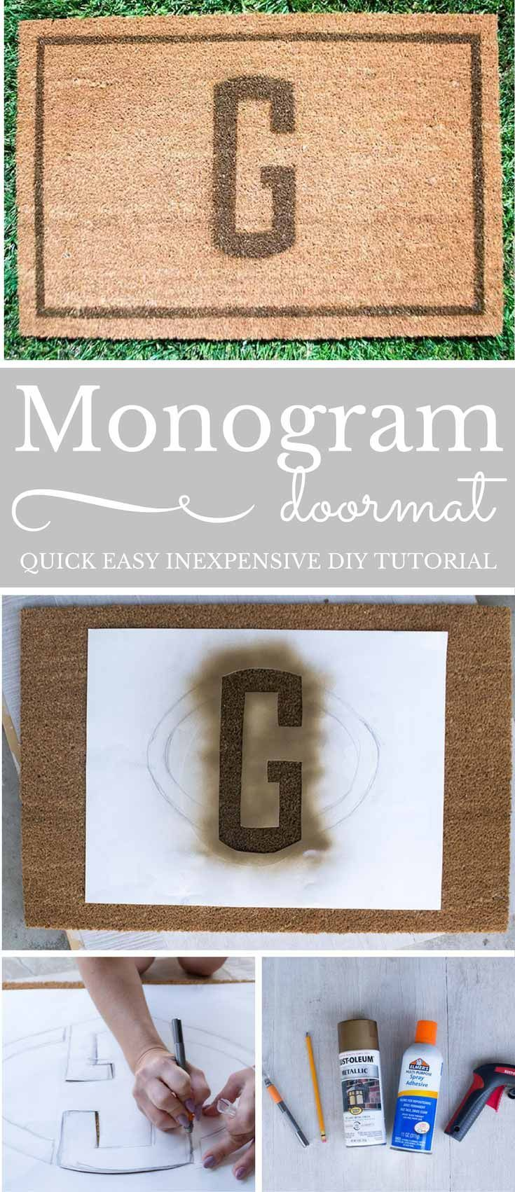 My Quick Easy Monogram Doormat, looks as great as those expensive brands, but costs a fraction of the price! This DIY will be my new hostess gift!