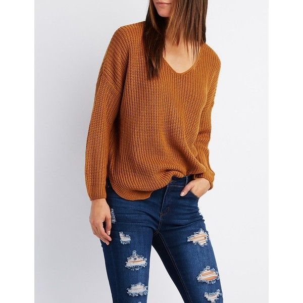 Charlotte Russe Shaker Stitch V-Neck Sweater ($28) ❤ liked on Polyvore featuring tops, sweaters, camel, stitch sweater, camel top, boyfriend top, v-neck sweater and v neck tops