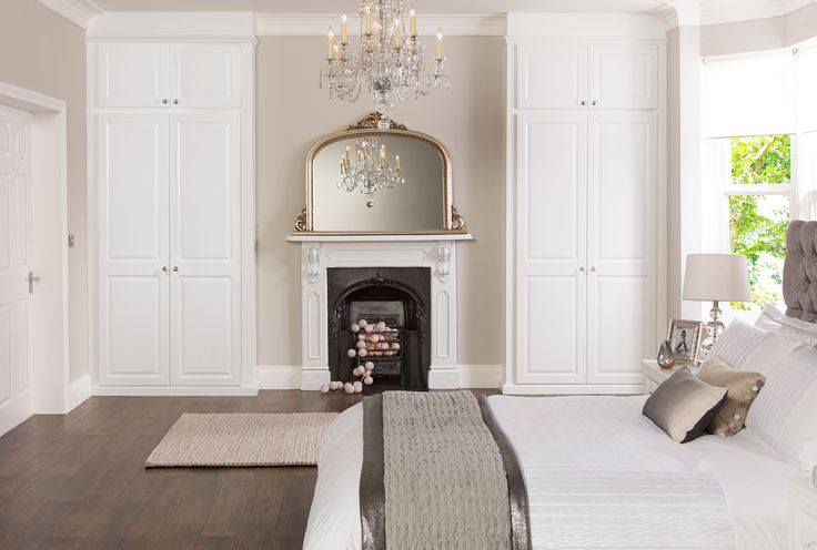 What we are looking for in the bedroom, built in cupboard and the fire place - also don't mind the wall colour on this one