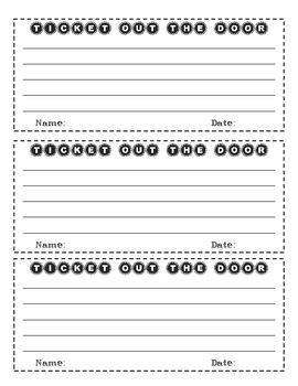 """Great way for students to check their understanding of a strategy/skill/topic at the end of a lesson. Students take 1-3 minutes to answer a question created by the teacher and hand it in as a """"ticket out the door."""" Also known as an """"exit slip,"""" the student question can be summative or formative and teachers use responses as an informal assessment to drive instruction!"""