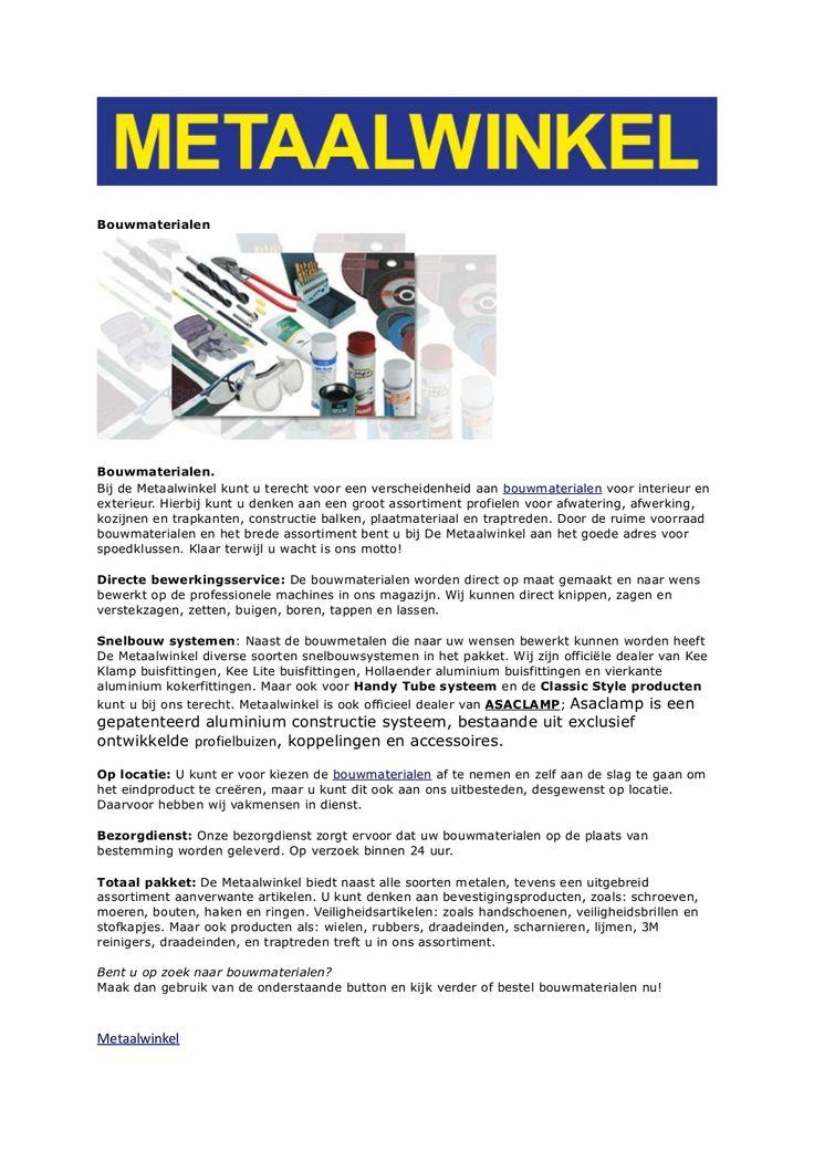 bouwmaterialen-metaalwinkel-bv by Metaalwinkel via Slideshare