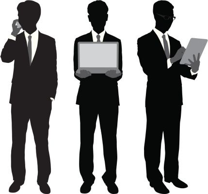 Vectores libres de derechos: Businessmen Using Portable Gadgets  http://www.gettyimages.es/detail/ilustraci%C3%B3n/businessmen-using-portable-gadgets-ilustraciones-libres-de-derechos/166052599