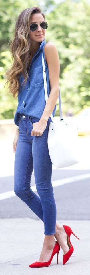 Sleeveless Shirt Double Denim Outfit by Something Navy