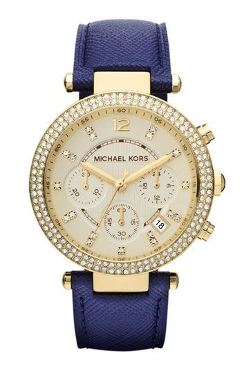 Michael Kors 'Parker' Chronograph Leather Watch, 39mm navy, crystal stones, and Parker... IT'S MEANT TO BE!! <3