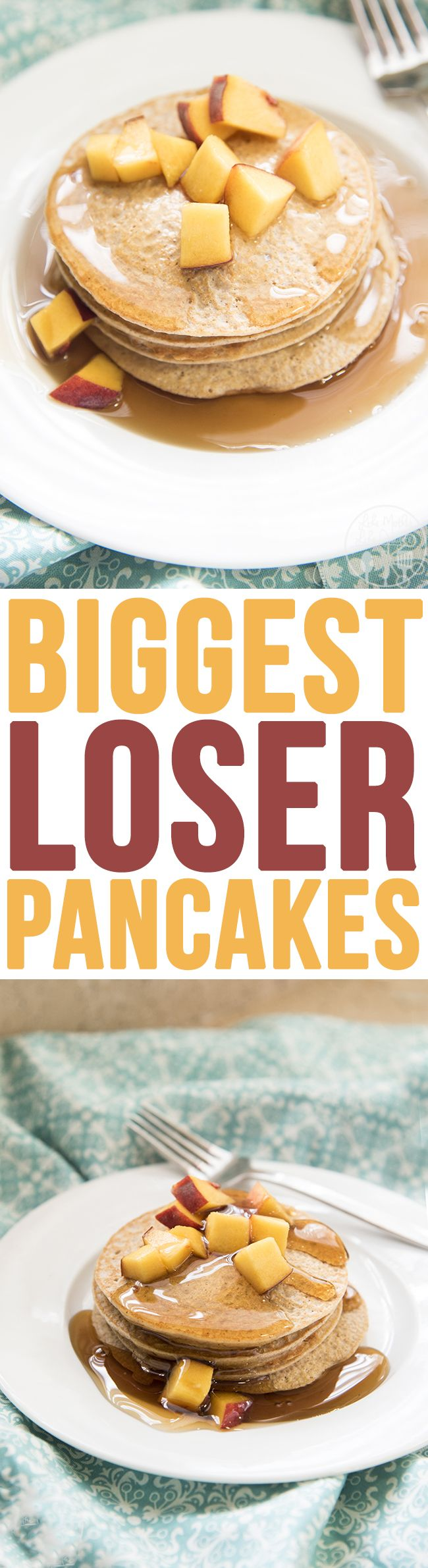 Biggest Loser Pancakes - You'll be surprised by the ingredients in these easy, low calorie, and delicious pancakes. You won't believe how good they are! Perfect for breakfast or dinner!