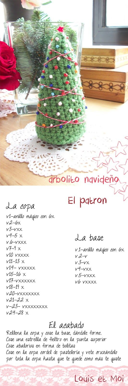 Louis et Moi (cosen y hacen crochet): Patrón de árbol de Navidad de amigurumi