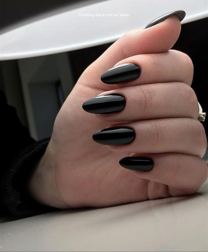 20 Simple Black Nail Art Design Ideas Blacknails Nail Almond Acrylic Nails Nail Ring Perfect Nails