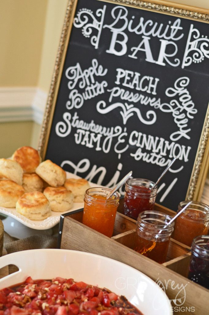 Biscuit Bar - adorable idea for a brunch party or shower!: Shower Ideas, Biscuits Bar, Brunch Baby Showers, Bridal Shower, Breakfast Recipe, Biscuit Bar, Baby Shower Brunch, Chalkboards Menu, Brunch Shower