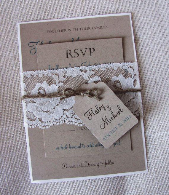 Kraft Lace Wedding Invitation, Rustic Kraft Wedding Invitation, Vintage wedding