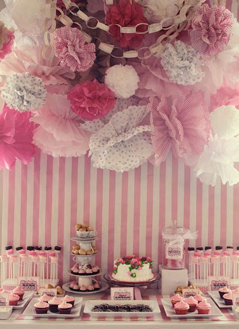 Stunning but remarkably easy to re-create. Tissue paper pom poms are easy and fun to make, so are the paper chains!! Get friends and family to bake yummy things and tell them its a 'pink theme!