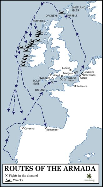 English fleet defeats Spanish armada, July 21, 1588. Map of the Routes of the Spanish Armada